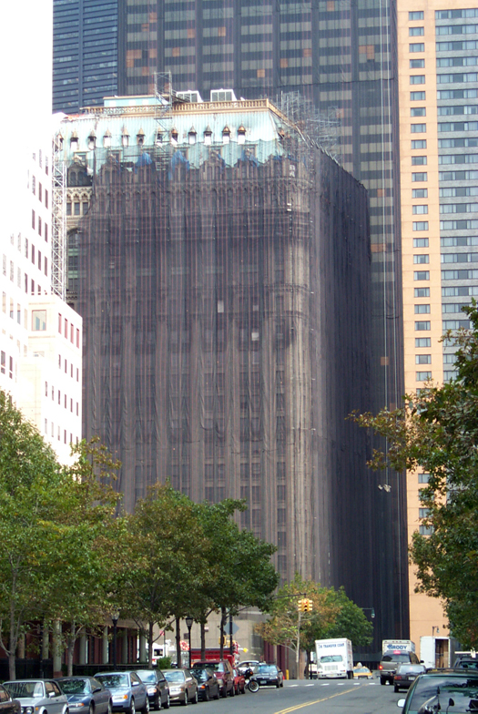 West Street Building, NYC, west face undergoing restoration, 1999